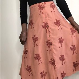 PEPALOVES | Ostrich Embroidery A-line MIDI Skirt